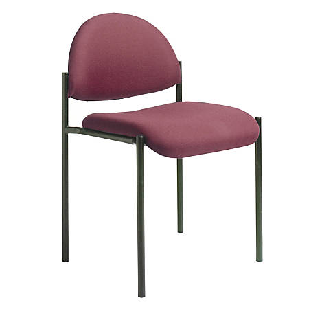 "Boss® Fabric Stacking Chair, Without Arms, 30 1/2""H x 20""W x 23 3/4""D, Burgundy Fabric"