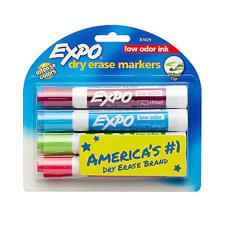 EXPO® Low-Odor Dry-Erase Markers, Chisel Point, Assorted Fashion Colors, Pack Of 4