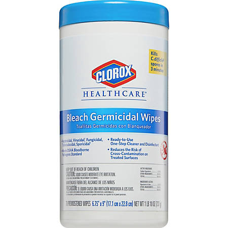 """Clorox Healthcare Bleach Germicidal Wipes - Ready-To-Use Wipe6.75"""" Width x 9"""" Length - 70 / Canister - 6 / Carton - White"""