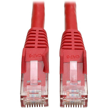 Tripp Lite 2ft Cat6 Gigabit Snagless Molded Patch Cable RJ45 M/M Red 2' - 2ft - 1 x RJ-45 Male - 1 x RJ-45 Male - Red