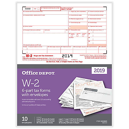 "Office Depot® Brand W-2 Inkjet/Laser Tax Forms And Envelopes, 2019 Tax Year, 6-Part, 8-1/2"" x 11"", Pack Of 10 Form Sets"