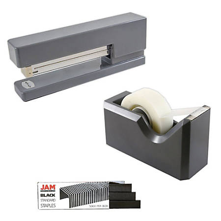 JAM Paper® 2-Piece Office And Desk Set, 1 Stapler & 1 Tape Dispenser, Gray/Black