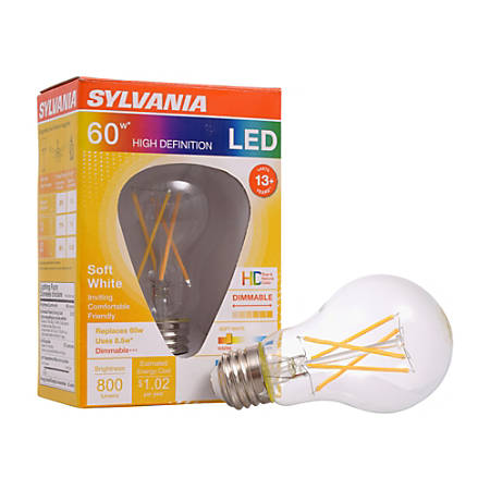 Sylvania LEDvance A19 Dimmable 800 Lumens LED Light Bulbs, 8.5 Watt, 2700 Kelvin/Soft White, Case Of 6 Bulbs