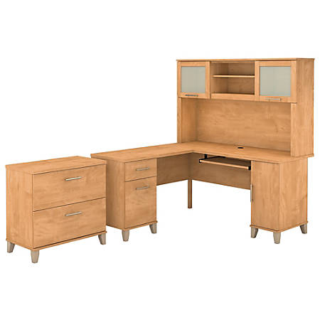 """Bush Furniture Somerset L Shaped Desk With Hutch And Lateral File Cabinet, 60""""W, Maple Cross, Standard Delivery"""
