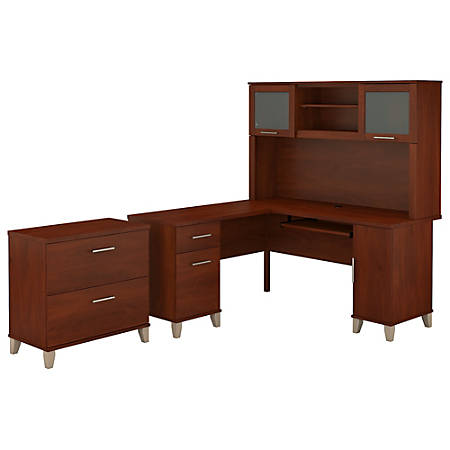"Bush Furniture Somerset L Shaped Desk With Hutch And Lateral File Cabinet, 60""W, Hansen Cherry, Standard Delivery"