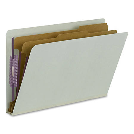 Smead® Pressboard Classification Folders With SafeSHIELD® Fasteners, End-Tab, 2 Divider, Legal Size, 60% Recycled, Gray/Green, Pack Of 10