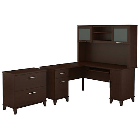 "Bush Furniture Somerset L Shaped Desk With Hutch And Lateral File Cabinet, 60""W, Mocha Cherry, Standard Delivery"
