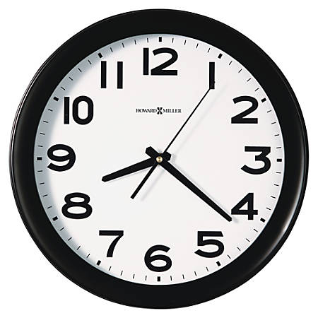 "Howard Miller® Kenwick 13 1/2"" Round Wall Clock, Black/White"