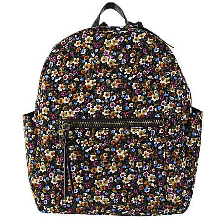 Office Depot® Brand Soda Pop Polyester Floral Cord Backpack, Black
