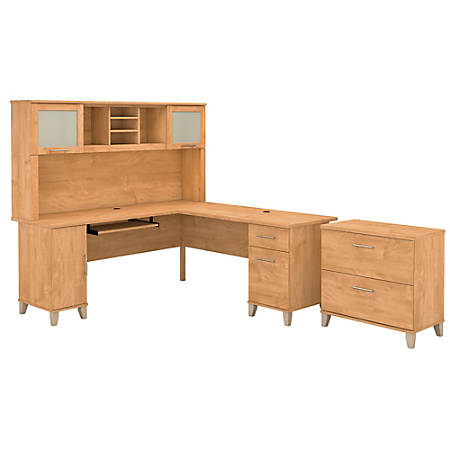 """Bush Furniture Somerset L Shaped Desk With Hutch And Lateral File Cabinet, 72""""W, Maple Cross, Standard Delivery"""