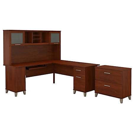 "Bush Furniture Somerset L Shaped Desk With Hutch And Lateral File Cabinet, 72""W, Hansen Cherry, Standard Delivery"