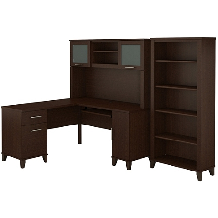 """Bush Furniture Somerset L Shaped Desk With Hutch And 5 Shelf Bookcase, 60""""W, Mocha Cherry, Standard Delivery"""