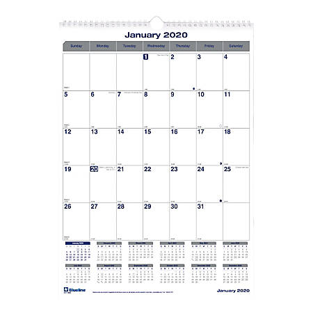 """Blueline® Net Zero Carbon Monthly Wall Calendar, 12"""" x 17"""", 50% Recycled, January to December 2020"""