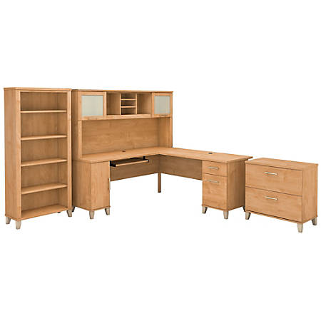 "Bush Furniture Somerset 72""W L Shaped Desk With Hutch, Lateral File Cabinet And Bookcase, Maple Cross, Standard Delivery"