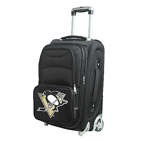 "Denco Nylon Expandable Upright Rolling Carry-On Luggage, 21""H x 13""W x 9""D, Pittsburgh Penguins, Black"