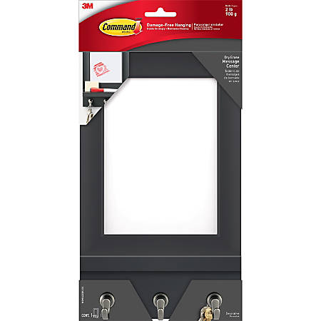 "Command Dry-Erase Message Center - 11.2"" Height x 6.8"" Width x 1.5"" Depth - Hanging, Surface - Slate"