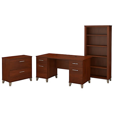 """Bush Furniture Somerset 60""""W Office Desk With Lateral File Cabinet And 5 Shelf Bookcase, Hansen Cherry, Standard Delivery"""