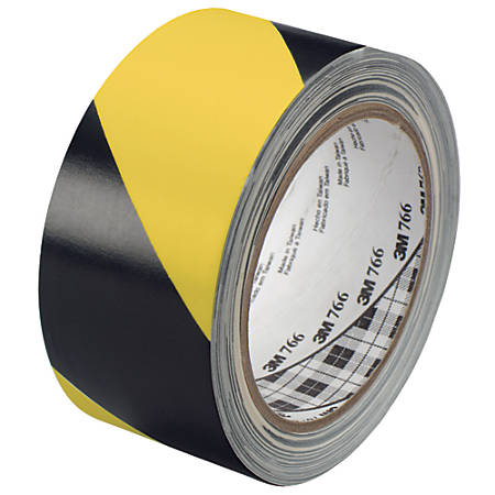 "3M™ 766 Striped Vinyl Tape, 3"" Core, 2"" x 36 Yd., Black/Yellow, Case Of 2"