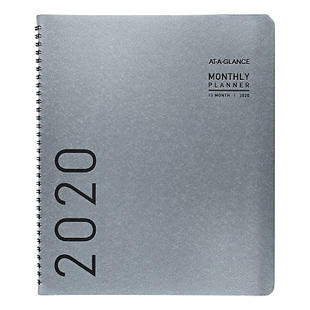 "AT-A-GLANCE® Contemporary Monthly Planner, 9"" x 11"", Titanium, January to December 2020"