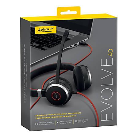 Jabra EVOLVE 40 UC SME Headset - Stereo - Mini-phone - Wired - Over-the-head - Binaural - Supra-aural - Noise Canceling