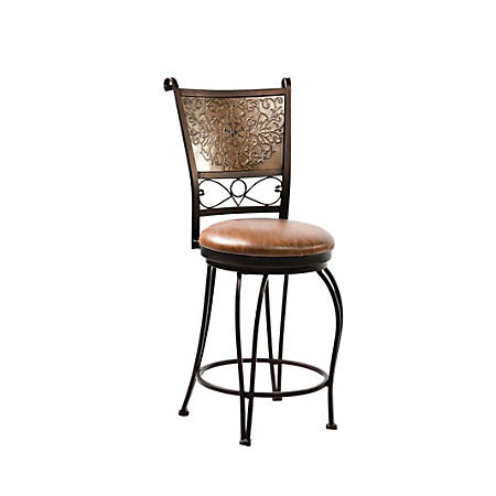 Powell® Home Fashions Bronze with Muted Copper Stamped Back Counter Stool, Brown/Bronze