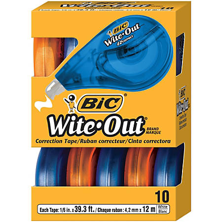 "BIC® Wite-Out® Brand EZ Correct Correction Tape, 1/6"" x 471 3/5"", White, Pack Of 10"