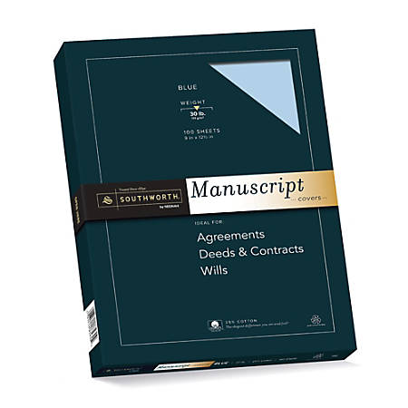 "Southworth® 75% Recycled 25% Cotton Manuscript Covers, 9"" x 12 1/2"", 30 Lb, Light Blue, Box Of 100"
