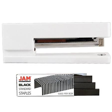 JAM Paper® 2-Piece Office Stapler Set, 1 Stapler & 1 Pack of Staples, White/Black