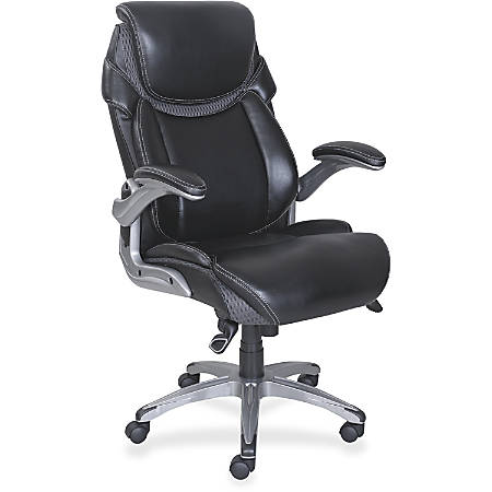 Lorell® Wellness by Design® Executive Chair, Bonded Leather, Black