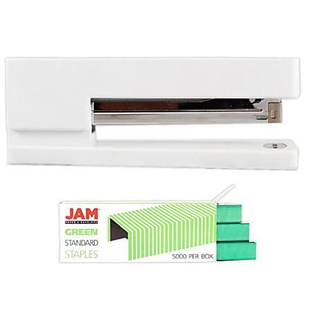 JAM Paper® 2-Piece Office Stapler Set,1 Stapler & 1 Pack of Staples,  White/Green