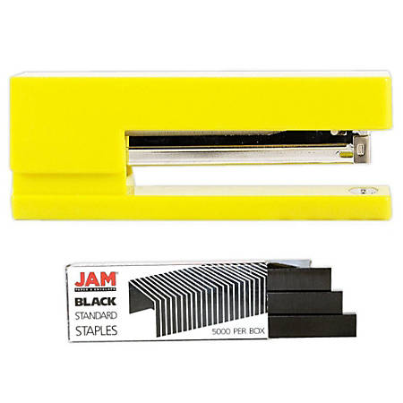 JAM Paper® 2-Piece Office Stapler Set, 1 Stapler & 1 Pack of Staples, Yellow/Black