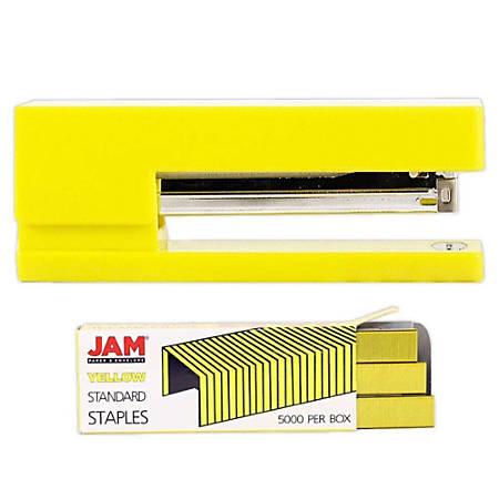 JAM Paper® 2-Piece Office Stapler Set, 1 Stapler & 1 Pack of Staples, Yellow