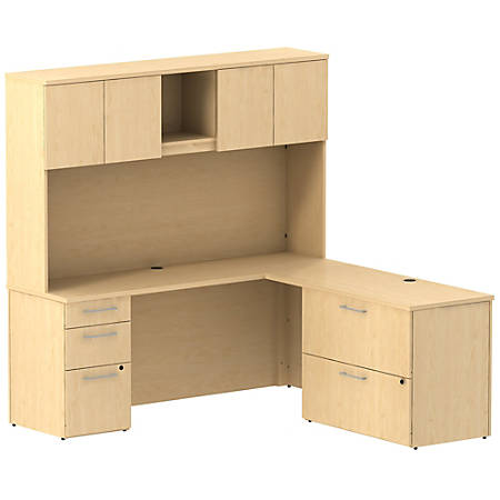 """Bush Business Furniture 300 Series L Shaped Desk And Hutch With 3 Drawer Pedestal And 2 Drawer Lateral File Cabinet, 72""""W x 22""""D, Natural Maple, Standard Delivery"""