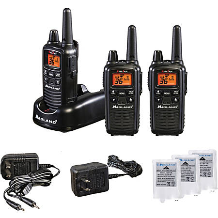 Midland LXT633VP3 Two-Way Radio Three Pack - 22 Radio Channels - UHF, FRS, GMRS - Upto 158400 ft - 121 - Silent Operation, Hands-free - AAA - Nickel Metal Hydride (NiMH)