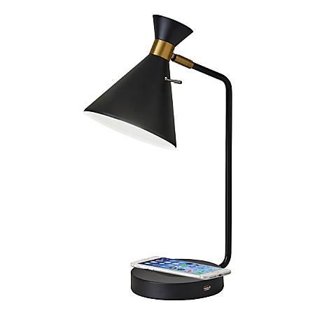 "Adesso® Maxine Wireless Charging Desk Lamp, 19""H, Black Shade/Black Base"