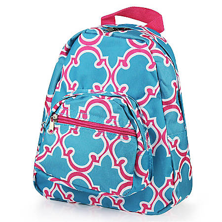 Zodaca Stylish Kids Small Backpack Outdoor School Shoulder, Blue Quatrefoil