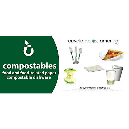 """Recycle Across America Compostables Standardized Recycling Labels, COMPS-0409, 4"""" x 9"""", Dark Green"""