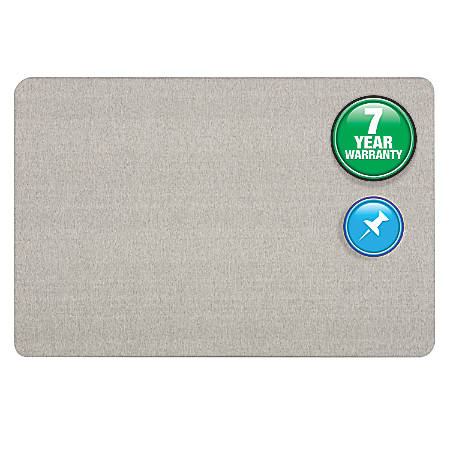 Quartet® Bulletin Board, Fabric, 3' x 2', Gray, Frameless