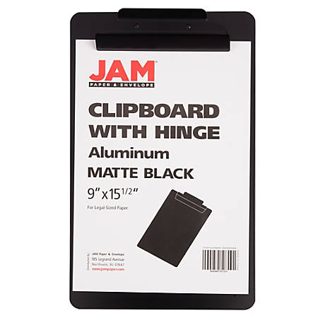 "JAM Paper® Aluminum Legal-Size Clipboard, 15-1/2"" x 9-1/2"", Black"