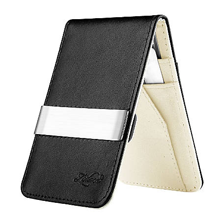 Zodaca Genuine Leather Wallet With Money Clip, Black/White/Silver