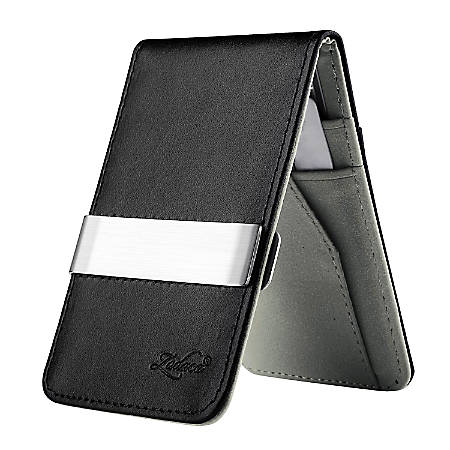 Zodaca Genuine Leather Wallet With Money Clip, Black/Gray/Silver