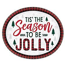 Amscan Christmas Cozy Holiday Oval Plates
