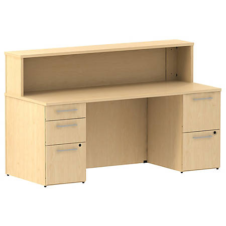 "Bush Business Furniture 300 Series Reception Desk With 2 Pedestals, 72""W x 30""D, Natural Maple, Premium Installation"
