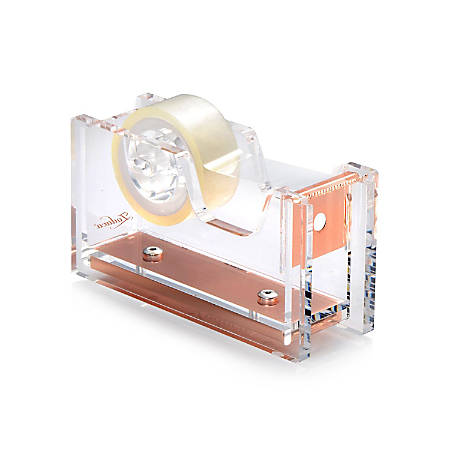 Zodaca Desktop Mini Dispenser With Tape, Clear/Rose Gold