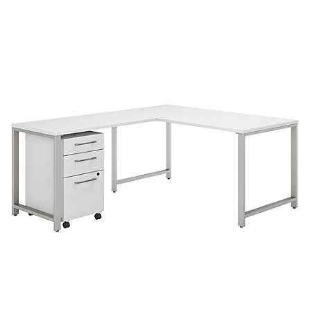 """Bush Business Furniture 400 Series 60""""W x 30""""D L-Shaped Desk With 42""""W Return And 3 Drawer Mobile File Cabinet, White, Standard Delivery"""