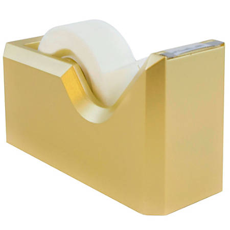 "JAM Paper® Plastic Tape Dispenser, 4-1/2""H x 2-1/2""W x 1-3/4""D, Gold"