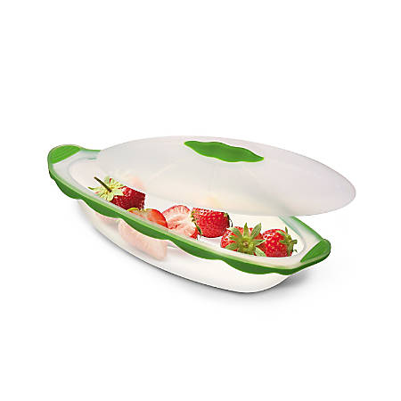 INNOKA Silicone Translucent Oval Shape Food Container With Lid, Green
