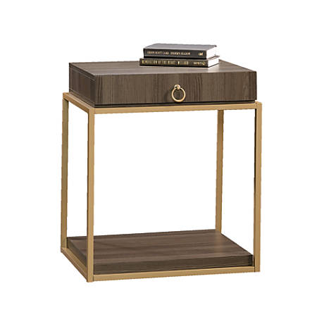 Sauder® International Lux Square Side Table With Drawer, Diamond Ash/Brushed Gold