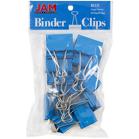 """JAM Paper® Designer Binder Clips, Large, 1"""" Capacity, Blue, Pack Of 12 Clips"""