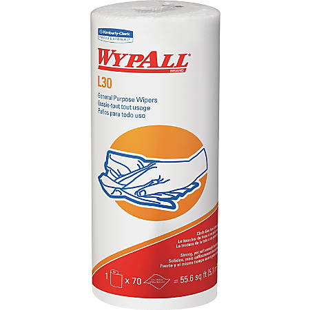 """Wypall L30 General-Purpose Wipers - 11"""" x 10.40"""" - 70 Sheets/Roll - White - Perforated, Light Duty, Wet Strength, Soft, Reinforced, Absorbent, Solvent Resistant - For Face, Hand, General Purpose, Janitorial - 1 Each"""